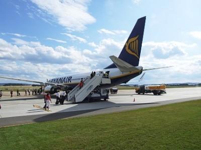 Letadlo Ryanair před odletem