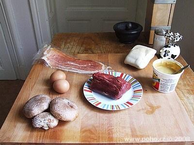 Suroviny na Beef Wellington